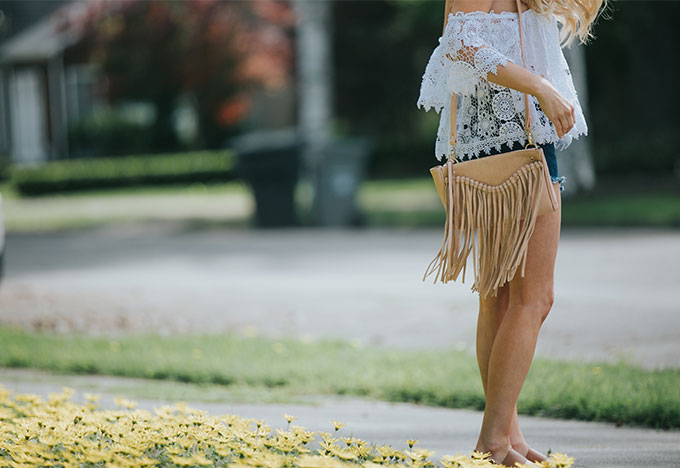 fringe bag with lace crop top