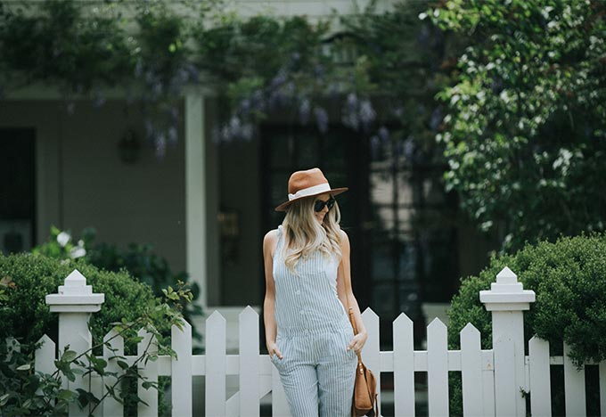 linen overalls and hat attack hat