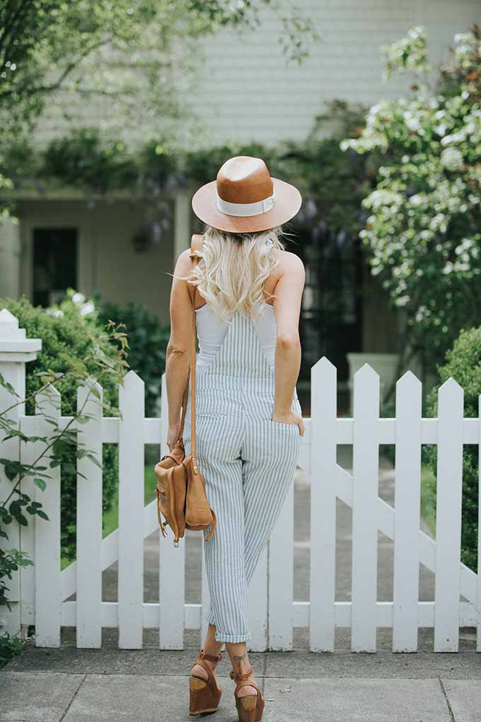 linen overalls and wedges