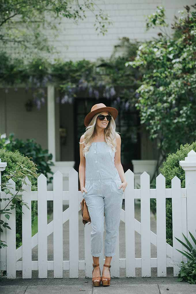 linen overalls with white tank and hat