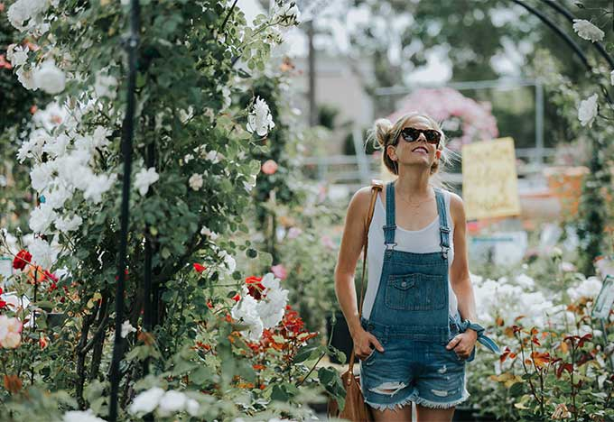 overalls and flowers