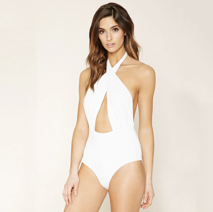 white cutout halter one piece swimsuit