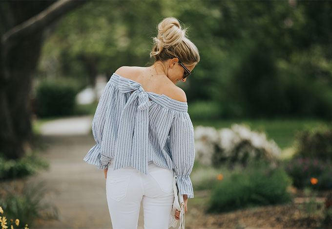 white striped off the shoulder top