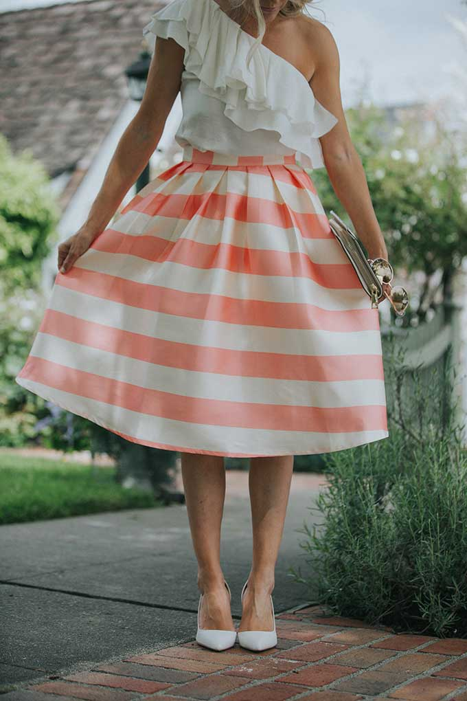 Chic Wish pink striped skirt