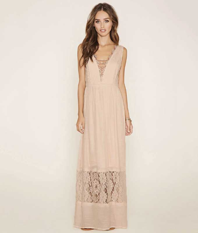 Forever 21 Lace Paneled Maxi Dress