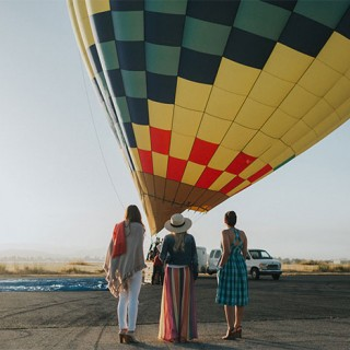 Hot Air Balloon Over Wine Country