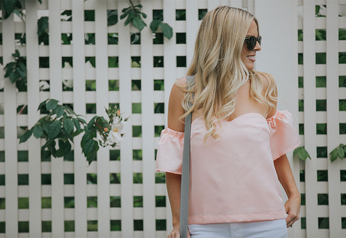 Shopbop Pink Over the Shoulder Top