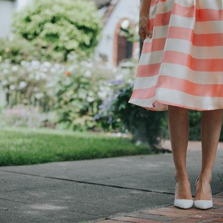 Striped Pink skirt with white pumps