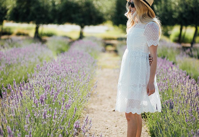 Pure Flowers Embroidered Dress in White