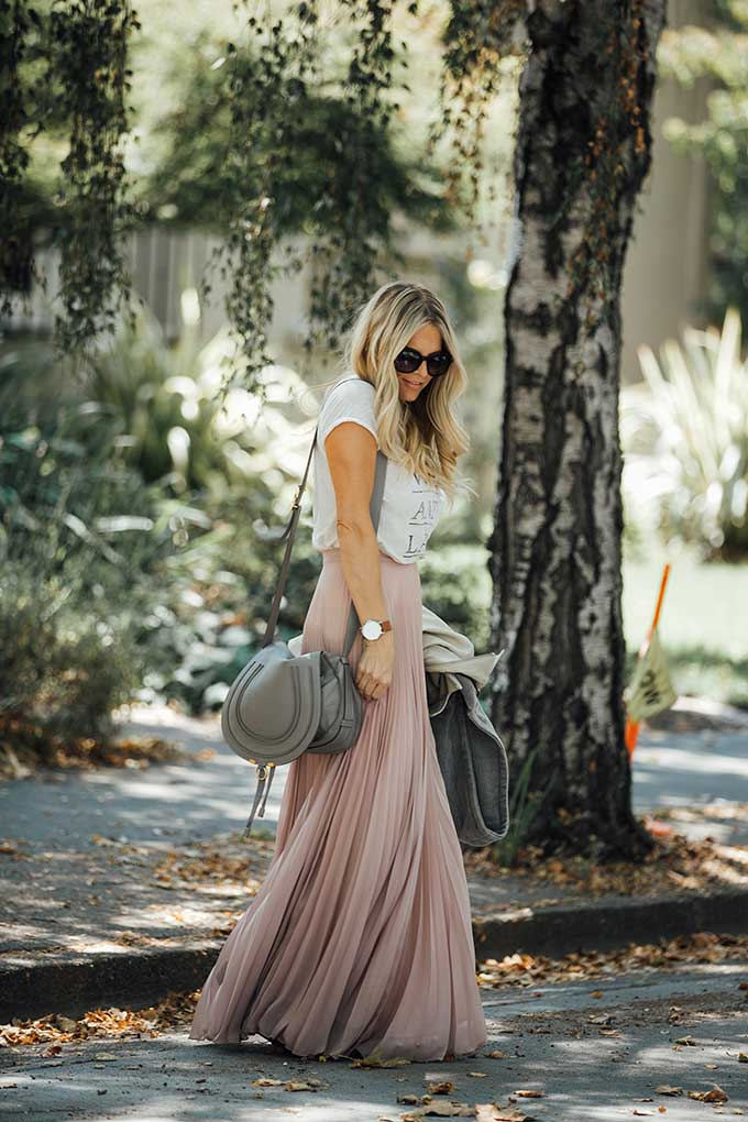 Pink ASOS Pleated Maxi Skirt