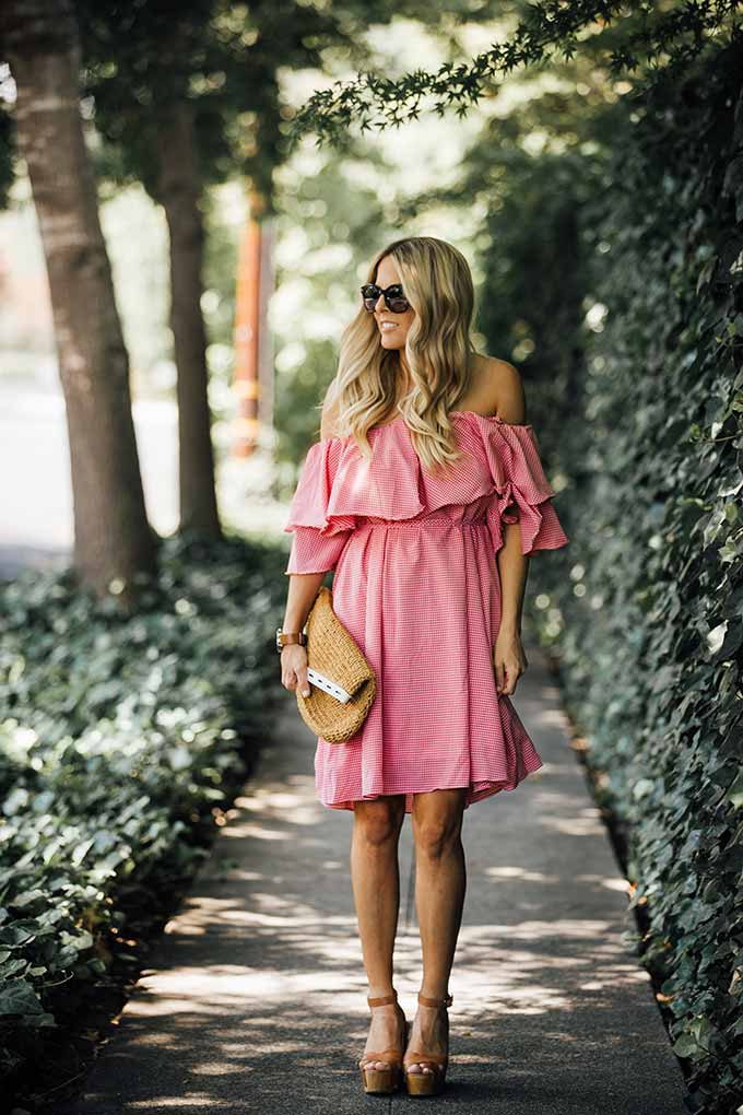 Chich Wish Gingham Off-shoulder Dress
