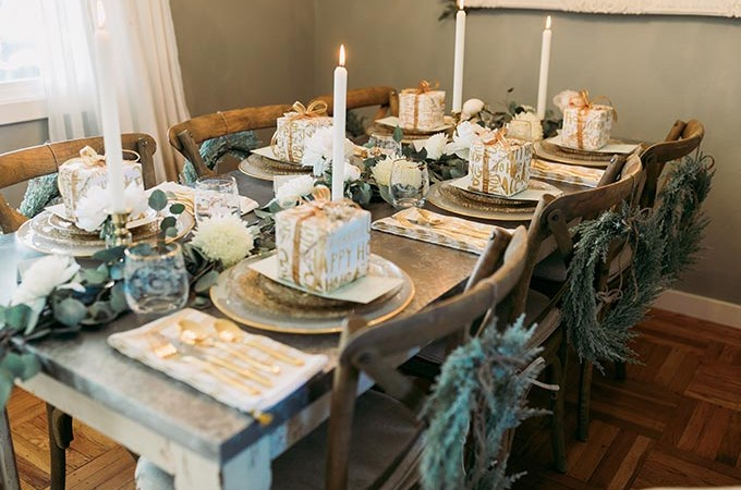 Whiskey & Lace Blog - A Holiday Soirée with Tiny Prints table setting