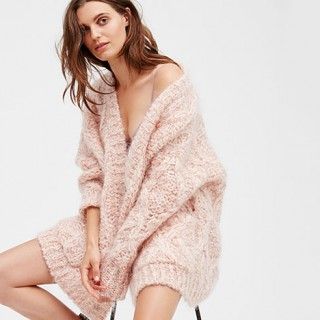 free people pink cardigan