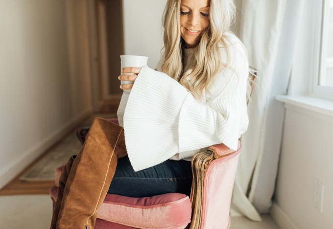 endless rose ruffle sweater drinking coffee
