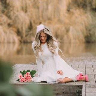 erika from whiskey and lace on dock in tulle skirt