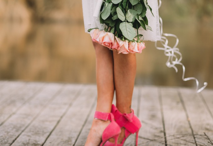 pink bow ankle strap heels