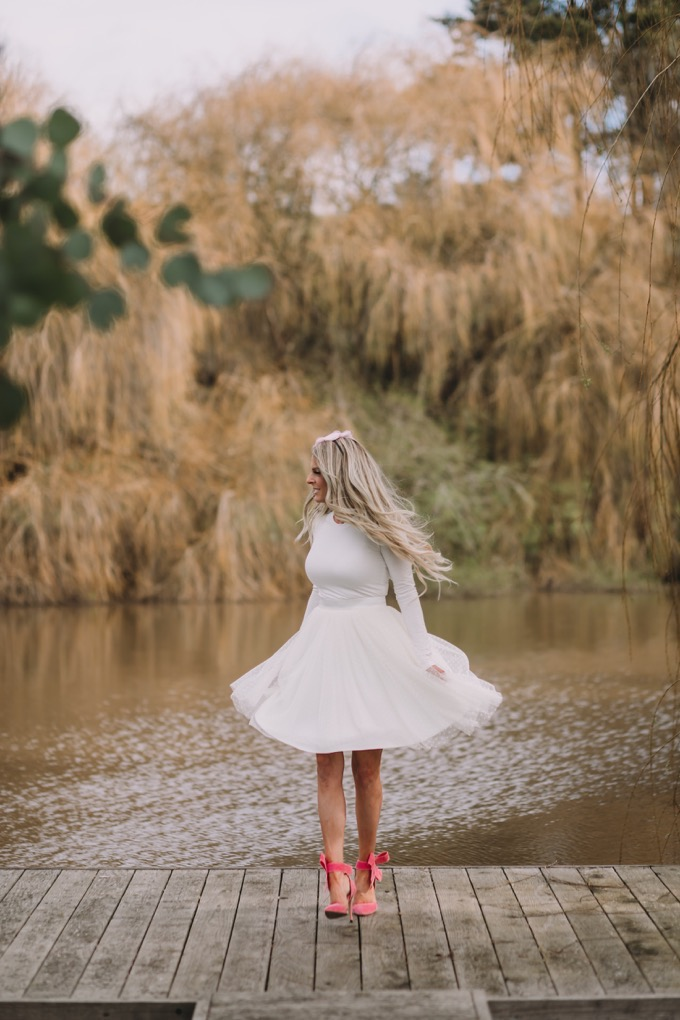 Erika from Whiskey and Lace in tulle skirt and bow heels