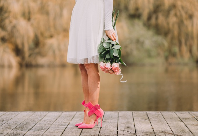 pink bow heels and white tulle skirt