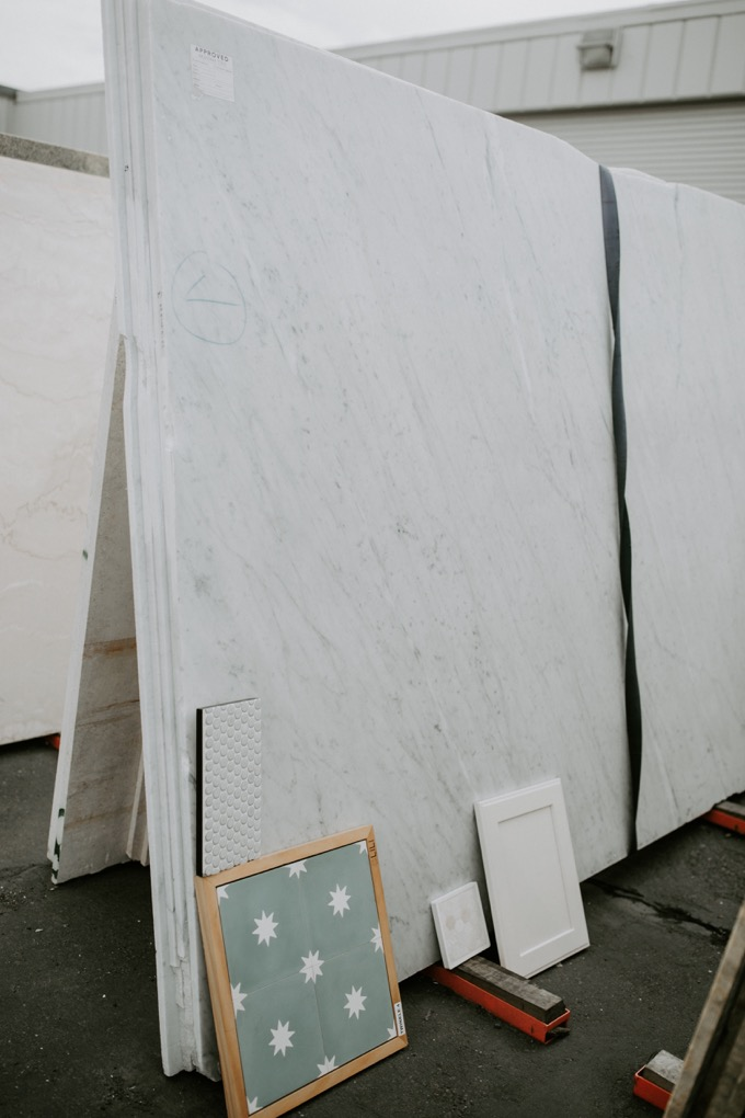 Ceramic Tile Center by popular SoCal life and style blog, Whiskey and Lace: image of tile and granite samples at the Ceramic Tile Center.