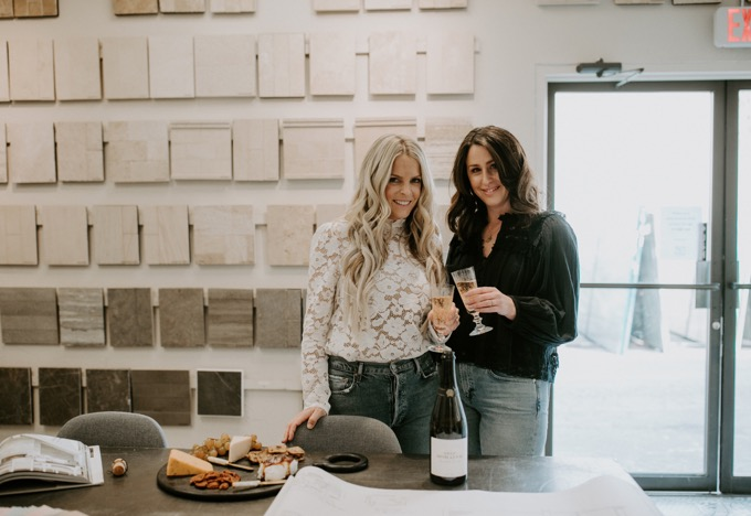 Ceramic Tile Center by popular SoCal life and style blog, Whiskey and Lace: image of a woman holding a glass of wine at the Ceramic Tile Center.